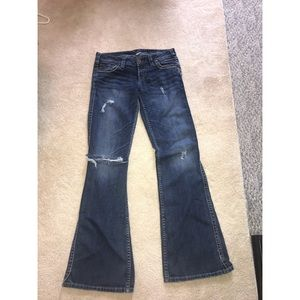 Silver darkwash distressed jeans